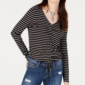 American Rag Women's Black Striped Drawstring Top